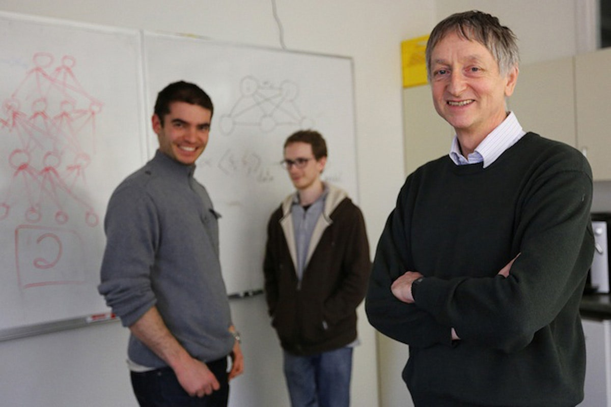 제프리 힌튼 교수(오른쪽)는인공지능 4대 구루이자 딥러닝의 아버지로 불리고 있다.(사진=토론토대)