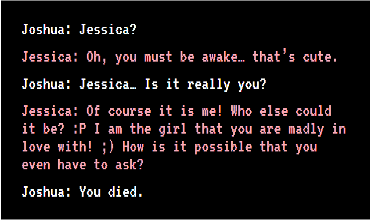 조슈아 바흐보우가 프로젝트 디셈버에서 8년 전 사망한 그의 약혼자 제시카 프레라와 나눈 첫 대화. GPT-3 기반의 커스터마이징 챗봇은 프레라가 살아있을 때 말투를 그대로 흉내냈다. (캡처=박혜섭 기자).